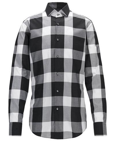 BOSS Men's Slim-Fit Buffalo Checked Cotton Dress Shirt