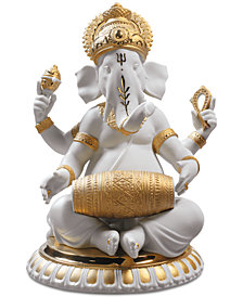 Lladró Mridangam Ganesha Golden Re-Deco Figurine