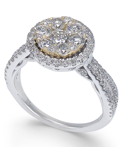 Diamond Halo Cluster Engagement Ring (1-1/4 ct. t.w.) in 14k Gold & White Gold