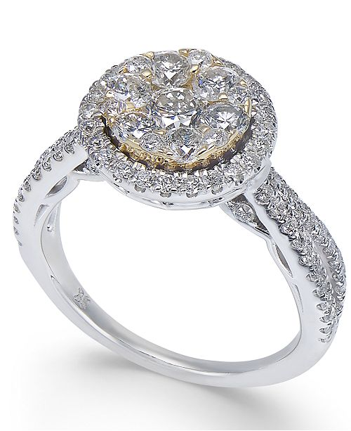 Macy's Diamond Halo Cluster Engagement Ring (1-1/4 ct. t.w.) in 14k Gold & White Gold