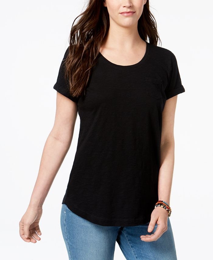 Style & Co - Cuffed-Sleeve Cotton T-Shirt