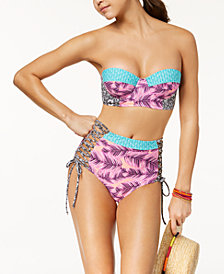 Hula Honey Juniors' Leaf Breeze Printed Underwire Push-Up Bikini Top & High-Waist Bottoms, Created for Macy's