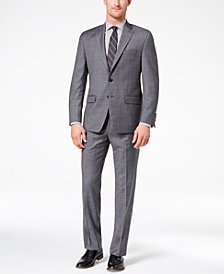 CLOSEOUT! Lauren Ralph Lauren Men's Classic-Fit Ultraflex Dark Gray/Blue Windowpane Suit