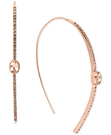 Kenneth Cole New York Rose Gold-Tone Pink Crystal Stick Linear Drop Earrings