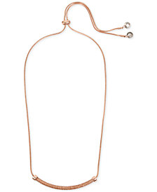 "Kenneth Cole New York Rose Gold-Tone Black Crystal Bar 28"" Slider Necklace"
