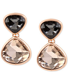 Kenneth Cole New York Rose Gold-Tone Black & Pink Stone Drop Earrings