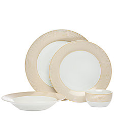 CLOSEOUT! Godinger Gustave 16-Pc. White Gold Banded Dinnerware Set, Service for 4