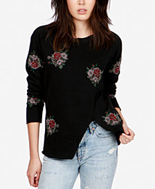 Lucky Brand Cotton Embroidered Knit Top