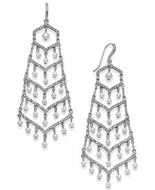 I.N.C. Silver-Tone Pavé & Imitation Pearl Chandelier Earrings, Created for Macy's