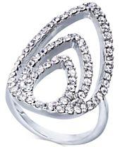 I.N.C. Silver-Tone Crystal Triple-Teardrop Ring, Created for Macy's