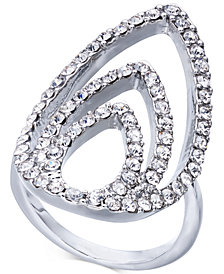 I.N.C. Silver-Tone Crystal Triple-Teardrop Ring, Created for Macy's