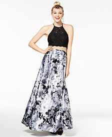 Blondie Nites Juniors' 2-Pc. Lace & Floral-Print Halter Gown