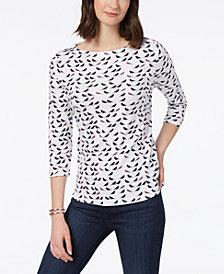 Charter Club Cotton Bird-Print Top, Created for Macy's