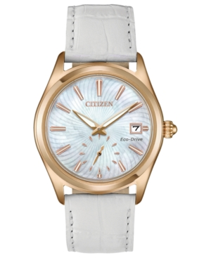 Citizen WOMEN'S ECO-DRIVE CORSO WHITE LEATHER STRAP WATCH 36.2MM, CREATED FOR MACY'S