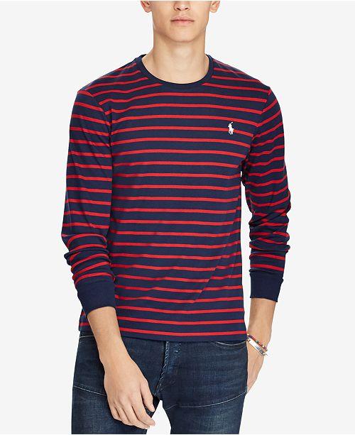 cfbb89401 Polo Ralph Lauren Men s Custom Slim Fit Striped Long-Sleeve T-Shirt ...