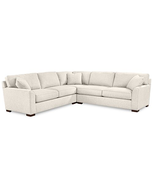"Furniture CLOSEOUT! Carena 3-Pc. Fabric ""L"" Shaped Sectional Sofa - Custom Colors, Created for Macy's"