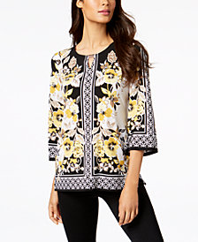 JM Collection Petite Printed Keyhole Tunic, Created for Macy's