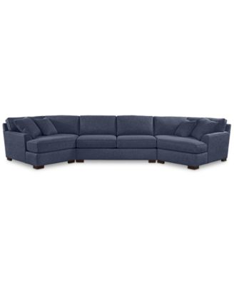Carena 3-Pc. Fabric Sectional with Apartment Sofa and Double Cuddler Chaise - Custom Colors, Created for Macy's