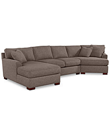 Carena 3-Pc. Fabric Sectional with Cuddler Chaise, Created for Macy's