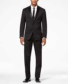 Kenneth Cole Reaction Men's Techni-Cole Slim-Fit Stretch Black Tuxedo