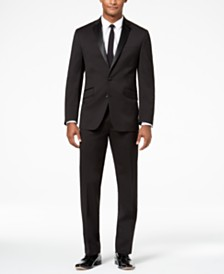 Kenneth Cole Reaction Men's Techni-Cole Slim-Fit Stretch Black Notch Lapel Tuxedo