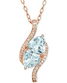 "Swiss Blue Topaz (1-2/3 ct. t.w.) & Diamond Accent 18"" Pendant Neckace in 10k Gold"