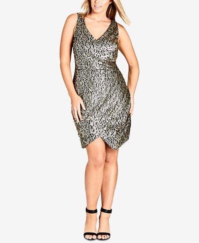 City Chic Trendy Plus Size Sequined Faux-Wrap Dress