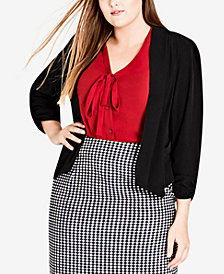 City Chic Trendy Plus Size Draped 3/4-Sleeve Blazer