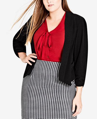 City Chic Trendy Plus Size Draped 3/4-Sleeve Blazer
