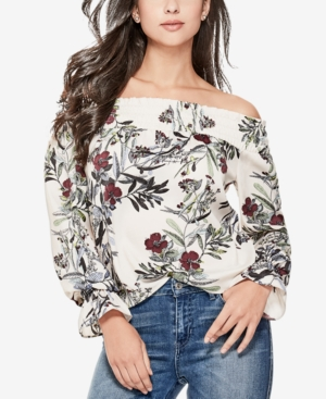 2c1078d9717a3 Guess Bethany Off-The-Shoulder Top In Floral Fauna White Sand ...