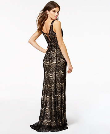 Say Yes to the Prom Juniors\' Lace-Up Lace Gown, a Macy\'s Exclusive ...