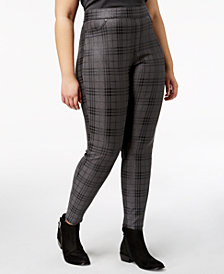 HUE® Women's  Plus Size Metallic Plaid Printed Leggings, Created for Macy's