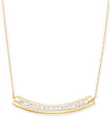 "Signature Gold Swarovski Crystal Curved Bar 18"" Pendant Necklace, Created for Macy's"