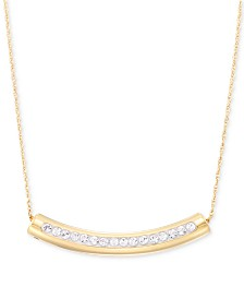 """Signature Gold Swarovski Crystal Curved Bar 18"""" Pendant Necklace, Created for Macy's"""