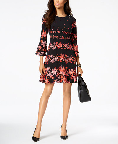 Alfani Printed Fit & Flare Dress, Created for Macy's