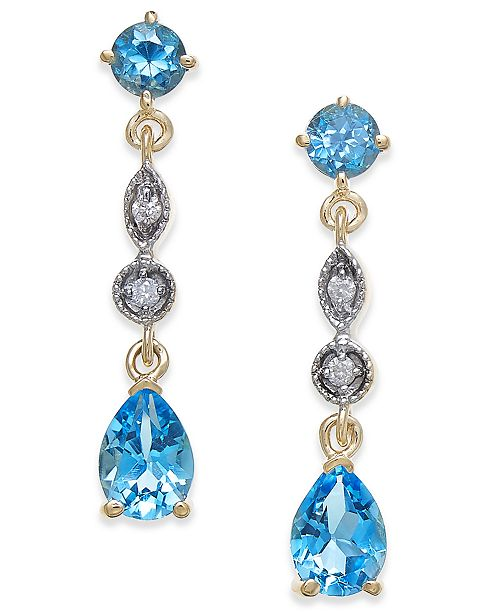 7c4a1f1b94c Macy s Blue Topaz (2-1 3 ct. t.w.)   Diamond Accent Drop Earrings in ...