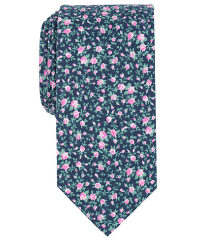 Bar III Men's Watercolor Floral Skinny Tie, Created for Macy's
