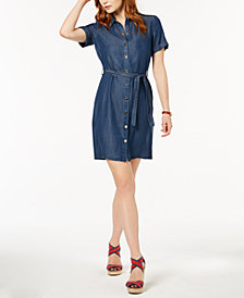 Tommy Hilfiger Short-Sleeve Denim Shirtdress, Created for Macy's