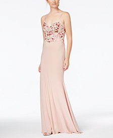 Xscape Embroidered Scoop-Back Gown