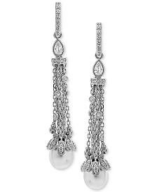 Arabella Cultured Freshwater Pearl (8 x 10mm) & Swarovski Zirconia Linear Drop Earrings in Sterling Silver