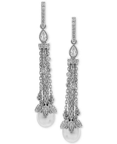 Arabella Cultured Freshwater Pearl (8 x 10mm) & Swarovski Zirconia Linear Drop Earrings in Sterling Silver