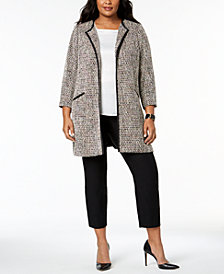 Charter Club Plus Size Tweed Open-Front Jacket, Created for Macy's