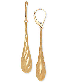 Polished Textured Teardrop Drop Earrings in 14k Gold