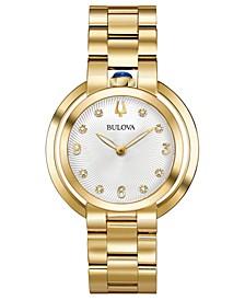 Women's Rubaiyat Diamond-Accent Gold-Tone Stainless Steel Bracelet Watch 35mm