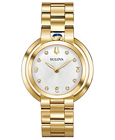 Bulova Women's Rubaiyat Diamond-Accent Gold-Tone Stainless Steel Bracelet Watch 35mm