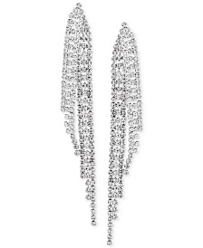 Say Yes To The Prom Silver Tone Crystal Fringe Drop Earrings