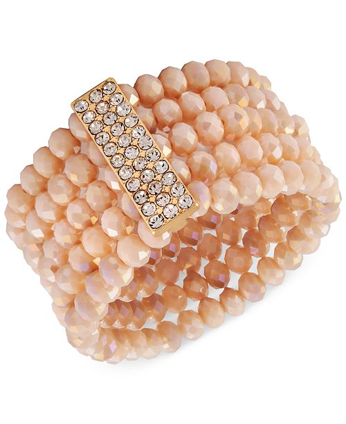 Say Yes to the Prom Gold-Tone Crystal & Pink Imitation Pearl Multi-Row Stretch Bracelet