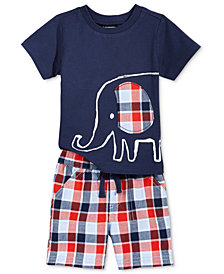 First Impressions Elephant-Print T-Shirt & Plaid Shorts, Baby Boys, Created for Macy's