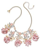 """I.N.C. Gold-Tone Flower, Stone & Crystal Statement Necklace, 15"""" + 3"""" extender, Created for Macy's"""