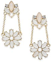 I.N.C. Gold-Tone Stone & Crystal Flower Drop Earrings, Created for Macy's